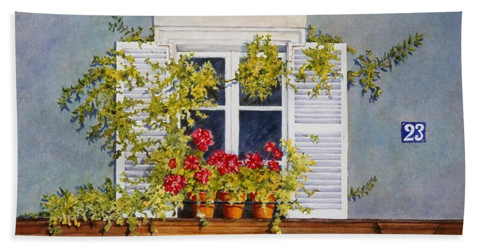 France Bath Towel featuring the painting Parisian Window by Mary Ellen Mueller Legault