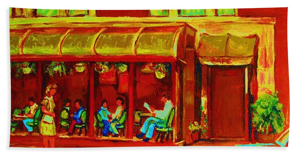 Montreal Bath Towel featuring the painting Park Avenue Montreal Cafe Scene by Carole Spandau