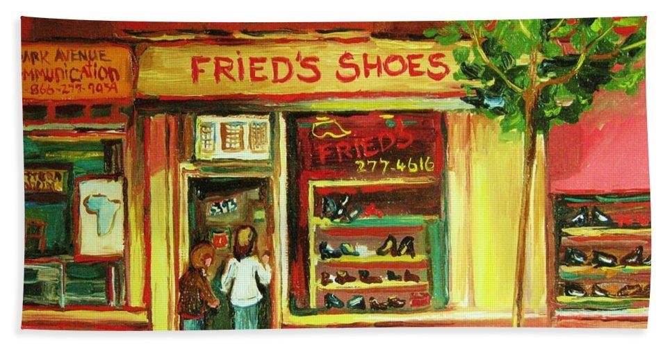 Montreal Bath Sheet featuring the painting Park Avenue Shoe Store by Carole Spandau