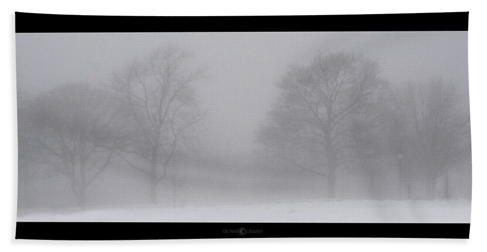 Fog Bath Towel featuring the photograph Park In Winter Fog by Tim Nyberg