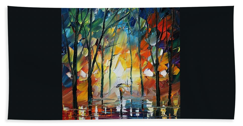 Afremov Bath Sheet featuring the painting Park by Leonid Afremov