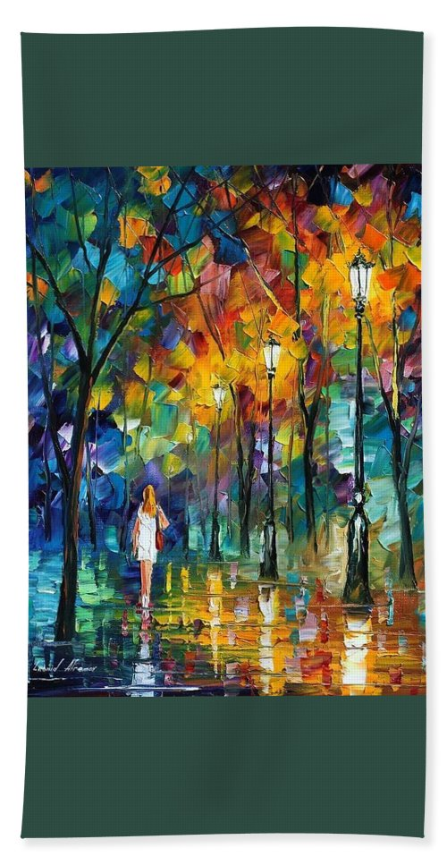 Afremov Bath Sheet featuring the painting Park New by Leonid Afremov