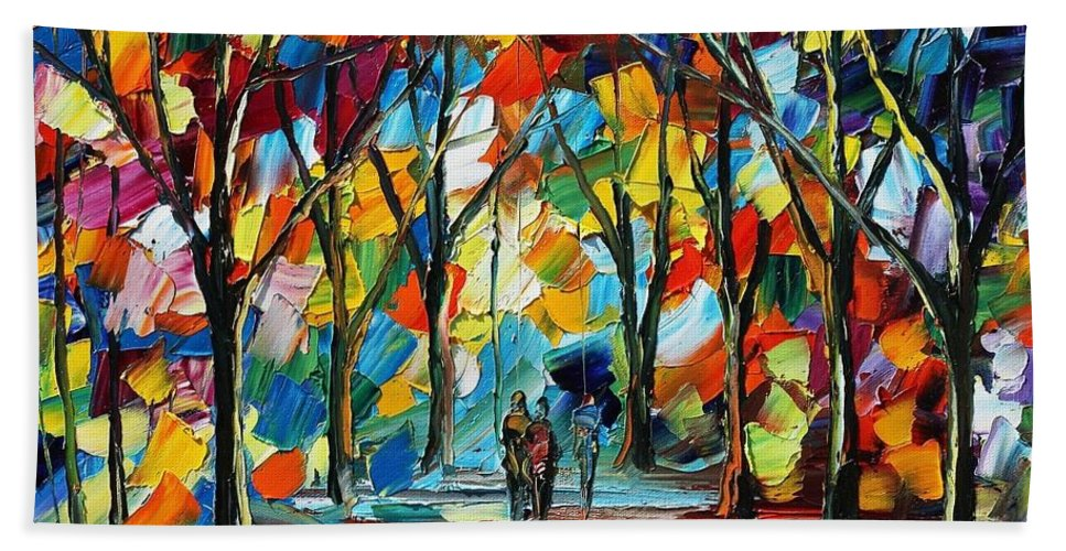 Afremov Hand Towel featuring the painting Park Of Freedom by Leonid Afremov