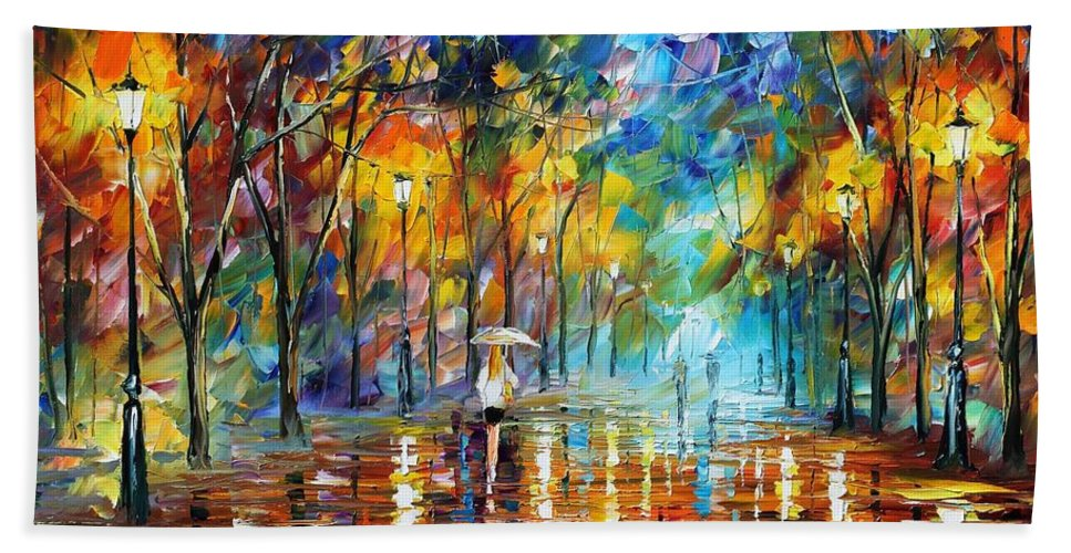 Afremov Hand Towel featuring the painting Park Of Pleasure by Leonid Afremov
