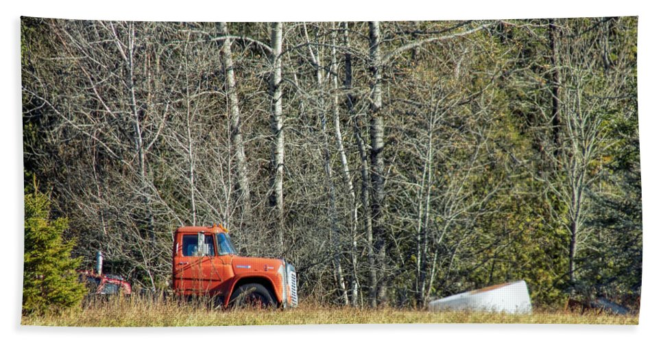Old Truck Bath Sheet featuring the photograph Parked by William Tasker
