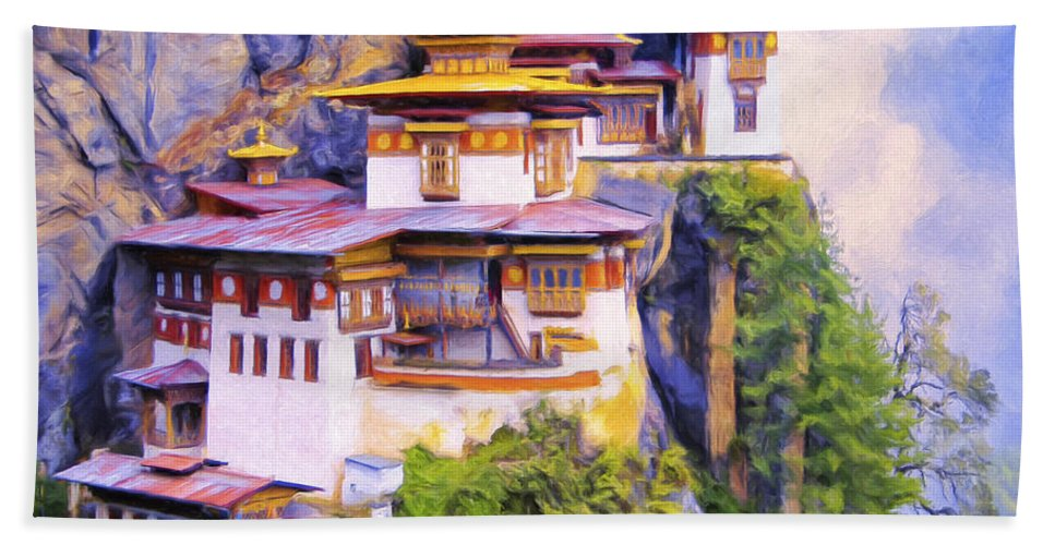 Tiger's Nest Bath Sheet featuring the painting Paro Taktsang Monastery Bhutan by Dominic Piperata