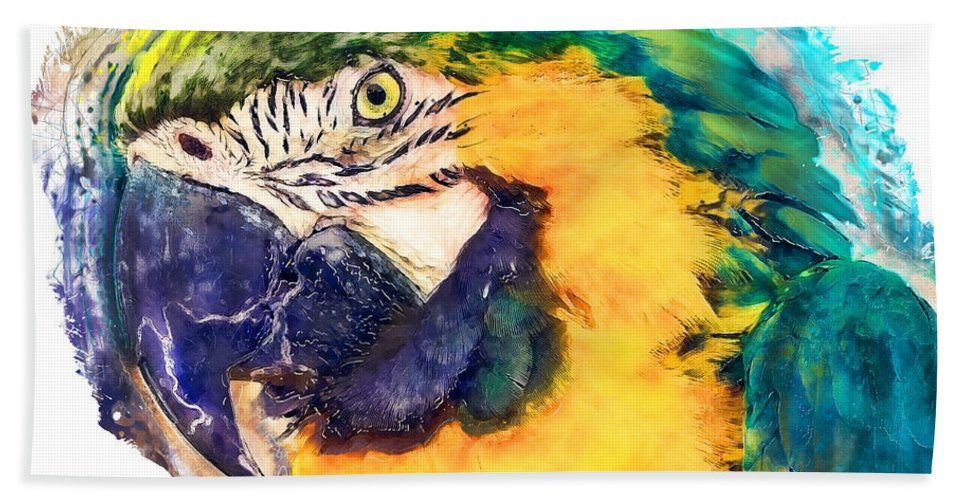 Parrot Bath Sheet featuring the painting Parrot Ara Watercolor Painting by Justyna JBJart