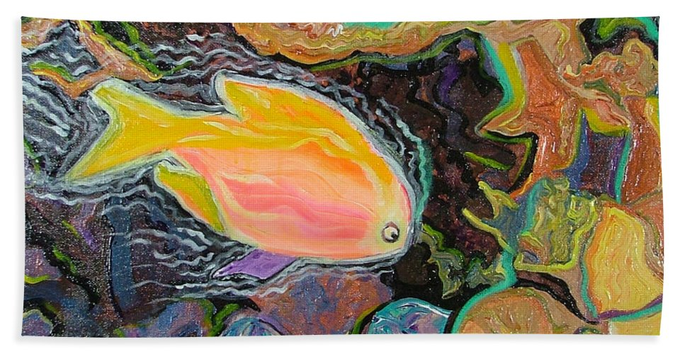Neon Hand Towel featuring the painting Parrot Fish Are Transgendered by Heather Lennox
