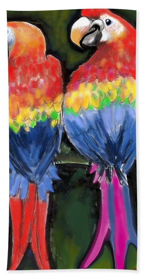 Parrot Bath Sheet featuring the painting Parrots by Kevin Middleton