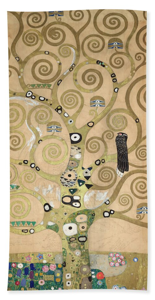 Tree Of Life Hand Towel featuring the painting Part Of The Tree Of Life, Part 4 by Gustav Klimt