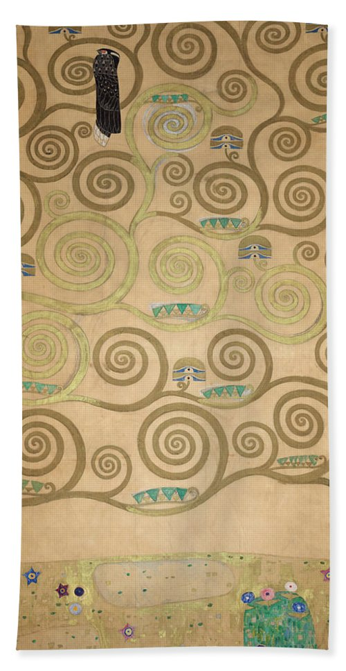 Tree Of Life Hand Towel featuring the painting Part Of The Tree Of Life, Part 5 by Gustav Klimt