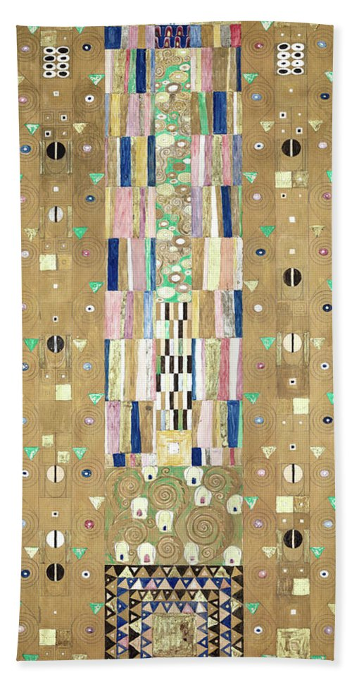Tree Of Life Hand Towel featuring the painting Part Of The Tree Of Life, Part 9 by Gustav Klimt