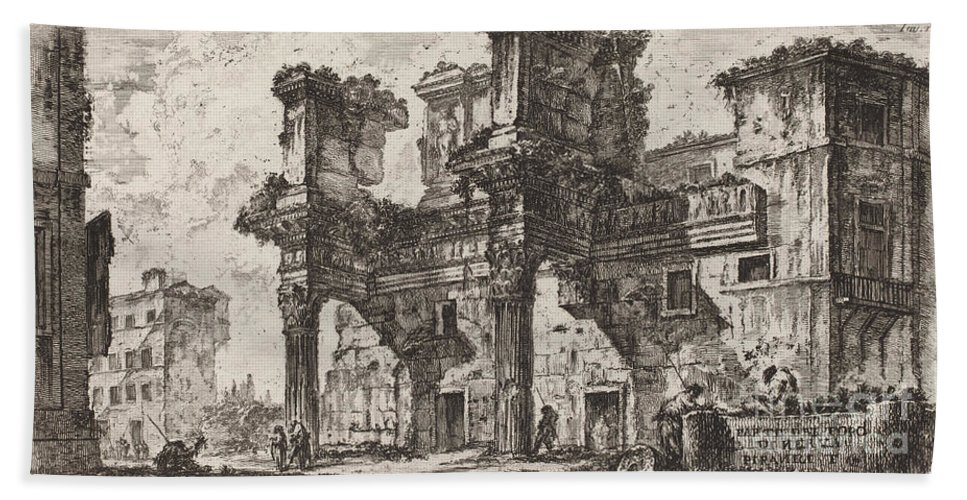 Hand Towel featuring the drawing Parte Di Foro Di Nerva by Giovanni Battista Piranesi