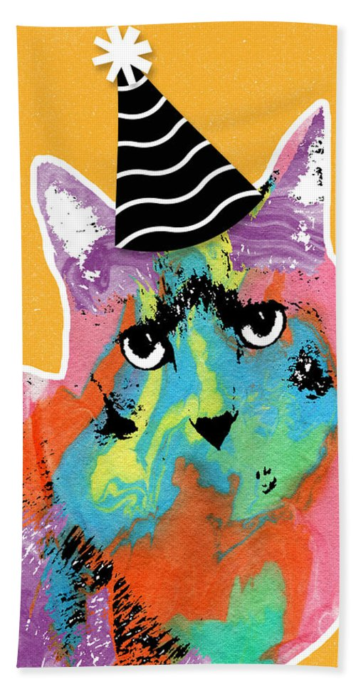Cat Bath Towel featuring the mixed media Party Cat- Art by Linda Woods by Linda Woods
