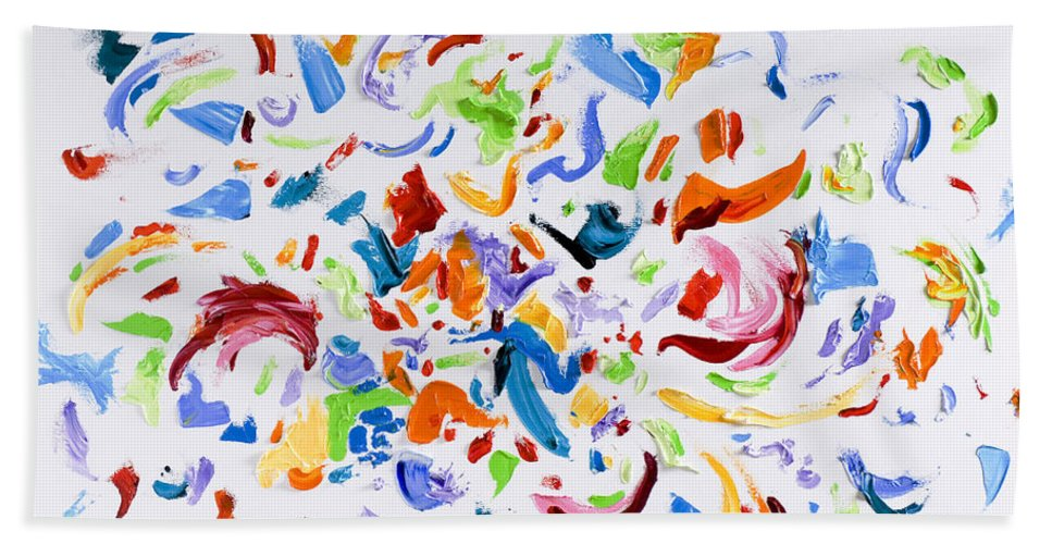 Red Bath Sheet featuring the painting Party by Shannon Grissom