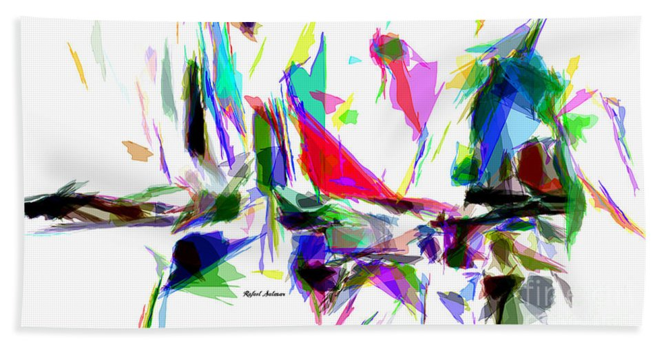 Rafael Salazar Hand Towel featuring the digital art Party Time by Rafael Salazar