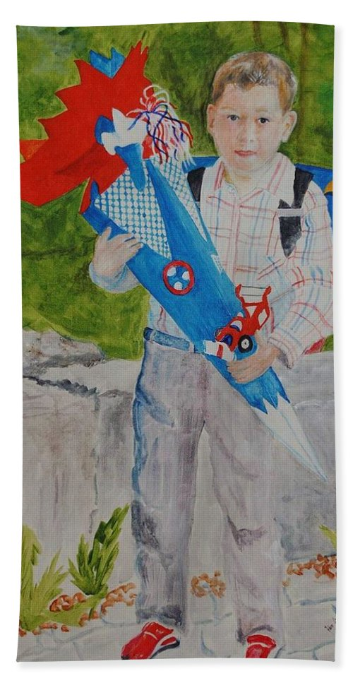 School Hand Towel featuring the painting Pascals first day at school 2004 by Helmut Rottler