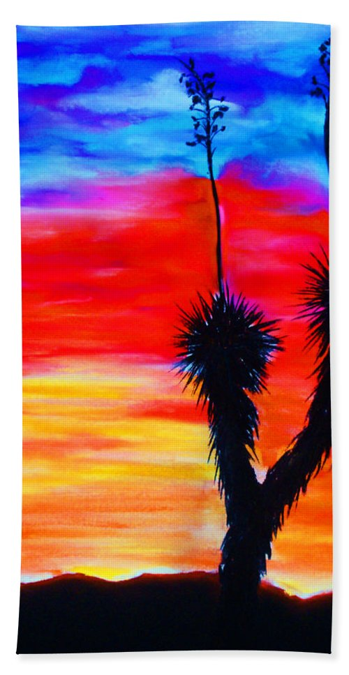 Sunset Bath Sheet featuring the painting Paso Del Norte Sunset 1 by Melinda Etzold