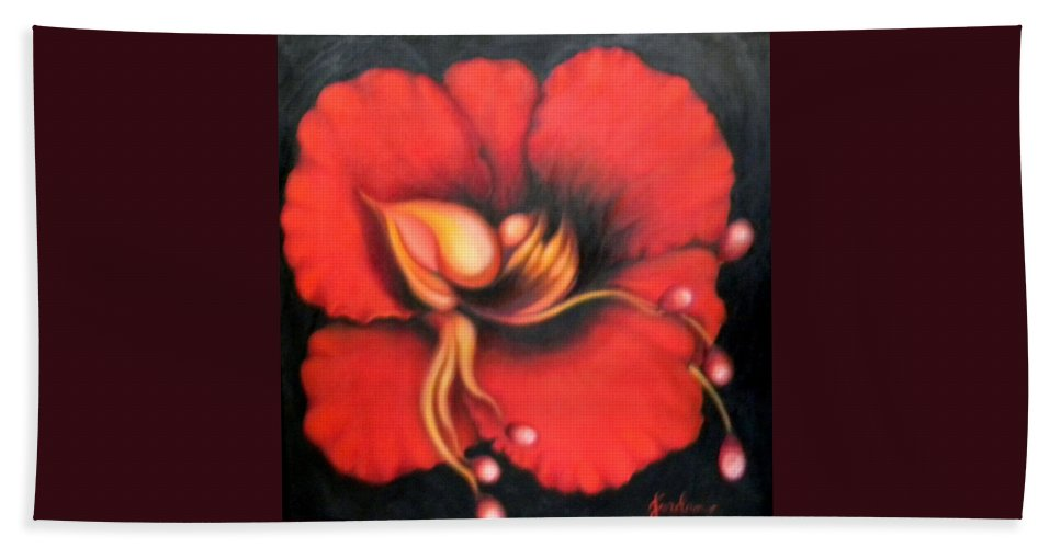 Red Surreal Bloom Artwork Hand Towel featuring the painting Passion Flower by Jordana Sands