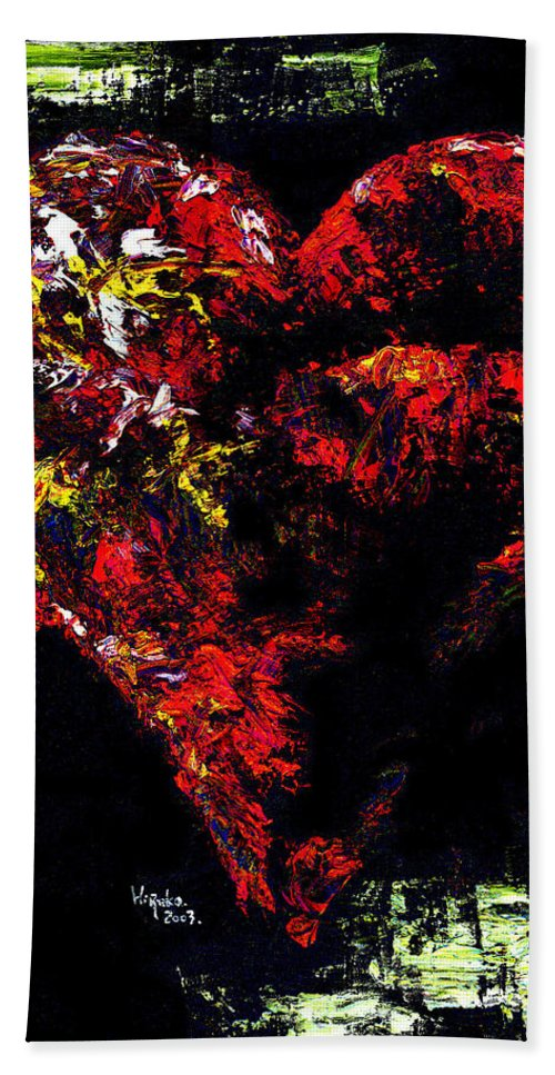 Heart Bath Towel featuring the painting Passion by Hiroko Sakai