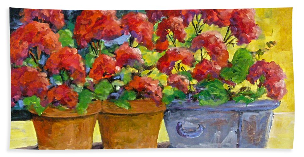 Still Life; Geraniums; Flowers; Terra Cotta; Red; Blue; Yellow; Green; Pranke; Hand Towel featuring the painting Passion In Red by Richard T Pranke