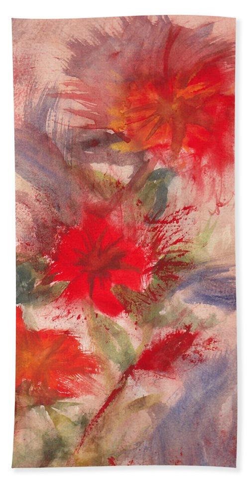 Flowers Hand Towel featuring the painting Passion In Three by Matthew Doronila