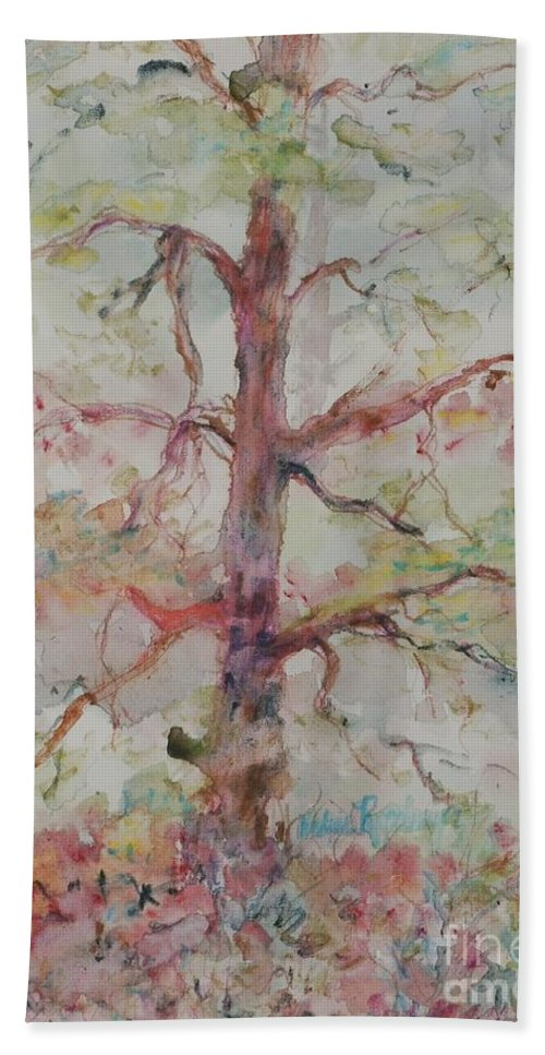 Forest Bath Sheet featuring the painting Pastel Forest by Nadine Rippelmeyer