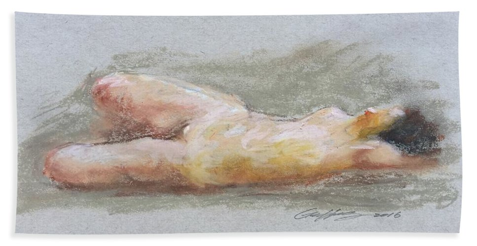 Nude Art Bath Sheet featuring the pastel Nude Lady by Geoffrey Feng