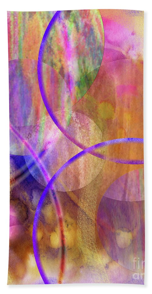 Pastel Planets Hand Towel featuring the digital art Pastel Planets by John Beck