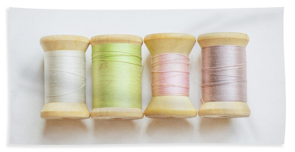 Pastel Hand Towel featuring the photograph Pastel Spools Of Vintage Thread by Brooke T Ryan