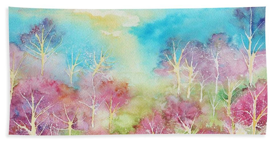 Landscape Hand Towel featuring the painting Pastel Spring by Brenda Owen