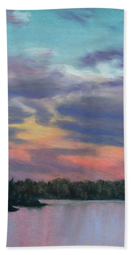 Landscape Bath Towel featuring the painting Pastel Sunset by Lynn Quinn