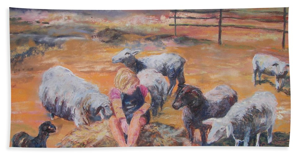 Farmstead Bath Sheet featuring the pastel Pasture Acquaintances by Alicia Drakiotes