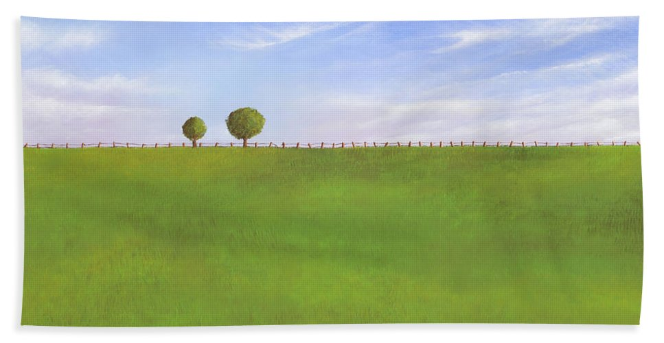Nebraska Hand Towel featuring the painting Pasture Land by Cindy D Chinn