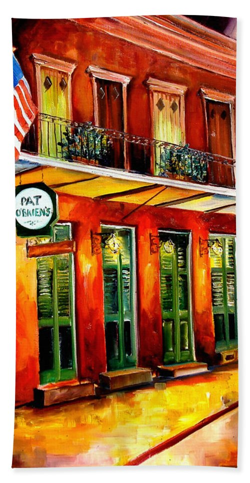 New Orleans Paintings Hand Towel featuring the painting Pat O Briens Bar by Diane Millsap