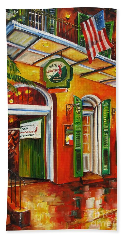 New Orleans Bath Sheet featuring the painting Pat O'brien's Bar On Bourbon Street by Diane Millsap