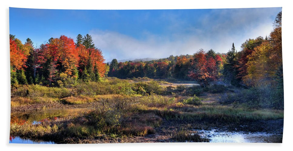 David Patterson Hand Towel featuring the photograph Patches Of Fog At The Green Bridge by David Patterson