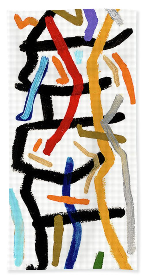 Abstract Hand Towel featuring the painting Patchwork by Bjorn Sjogren