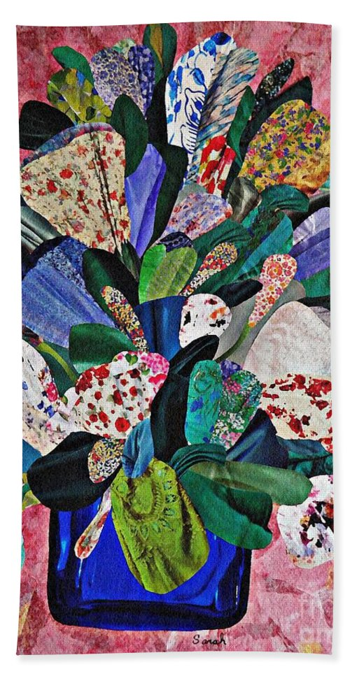 Floral Bath Sheet featuring the mixed media Patchwork Bouquet by Sarah Loft