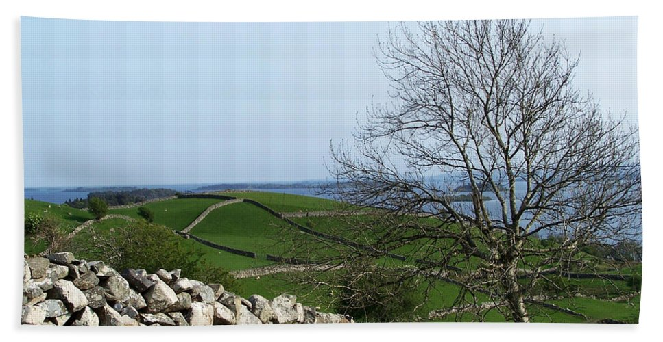 Irish Bath Sheet featuring the photograph Patchwork Quilt Lough Corrib Maam Ireland by Teresa Mucha