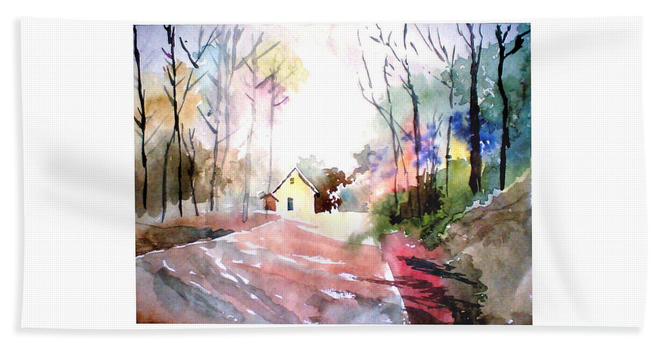 Nature Hand Towel featuring the painting Path In Colors by Anil Nene