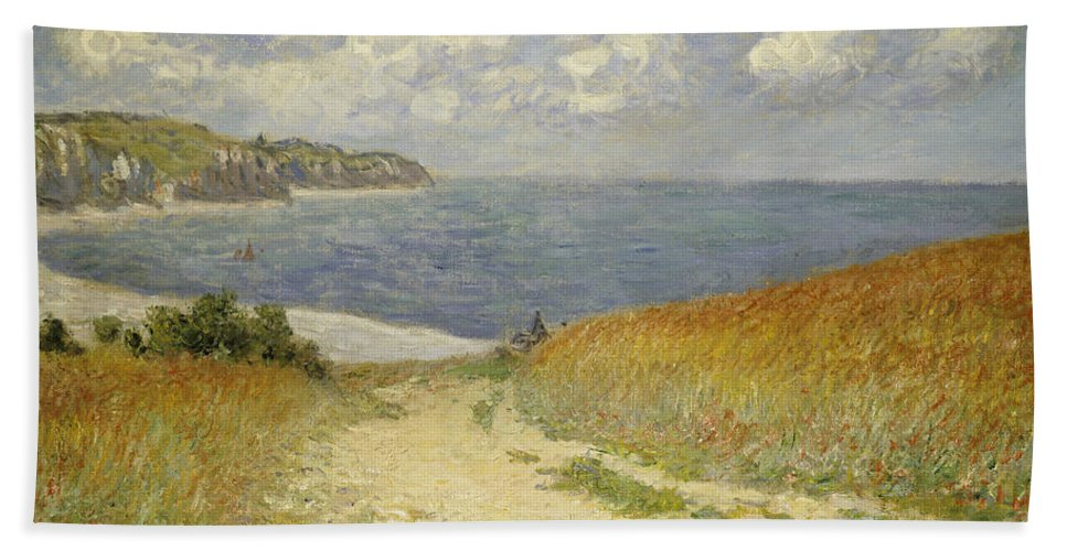 Path In The Wheat At Pourville Bath Towel featuring the painting Path in the Wheat at Pourville by Claude Monet