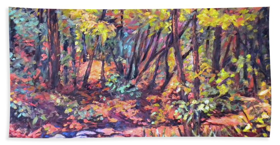 Landscape Hand Towel featuring the painting Path Near Pandapas by Kendall Kessler