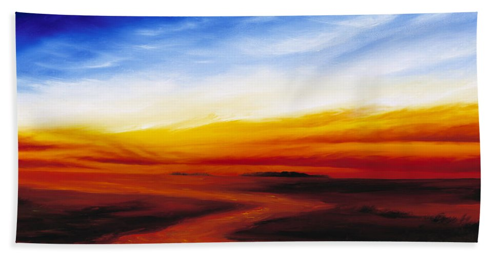 Sunrise Bath Towel featuring the painting Path To Redemption by James Christopher Hill