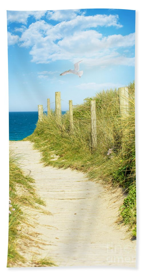 Path Bath Sheet featuring the photograph Path To The Ocean by Amanda Elwell