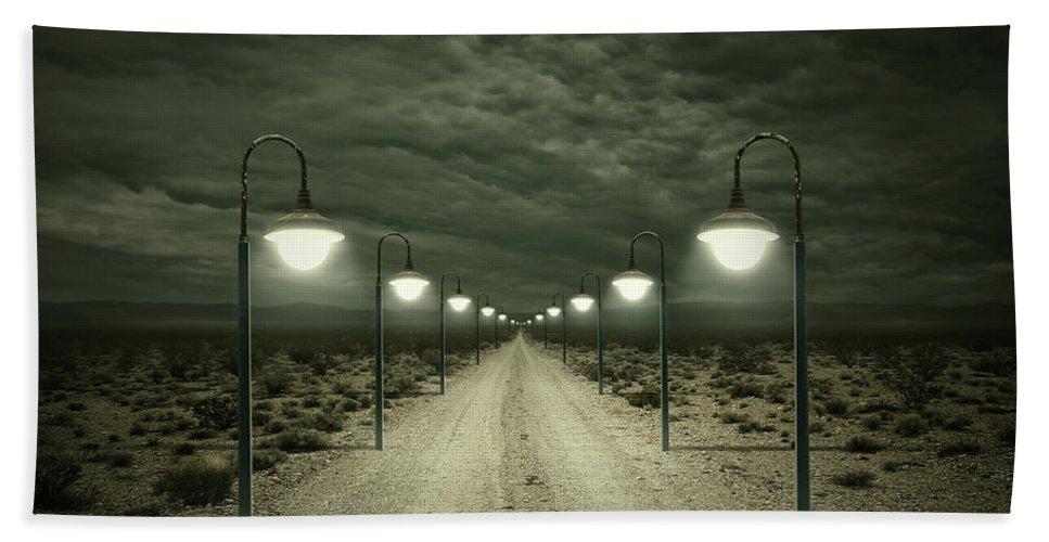 Dark Bath Towel featuring the digital art Path by Zoltan Toth