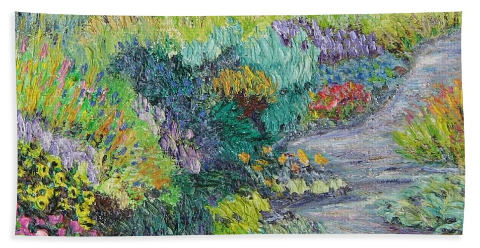 Flowers Hand Towel featuring the painting Pathway Of Flowers by Richard Nowak