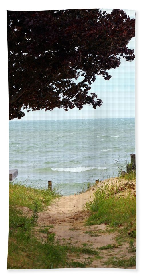 Path Bath Sheet featuring the photograph Pathway To The Beach by Anita Hiltz