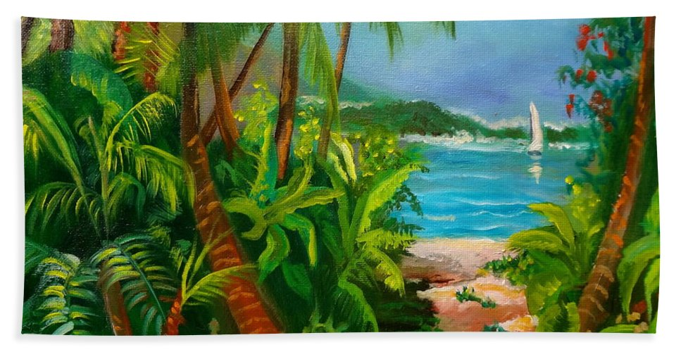 Tropical Island Hand Towel featuring the painting Pathway To The Beach by Jenny Lee