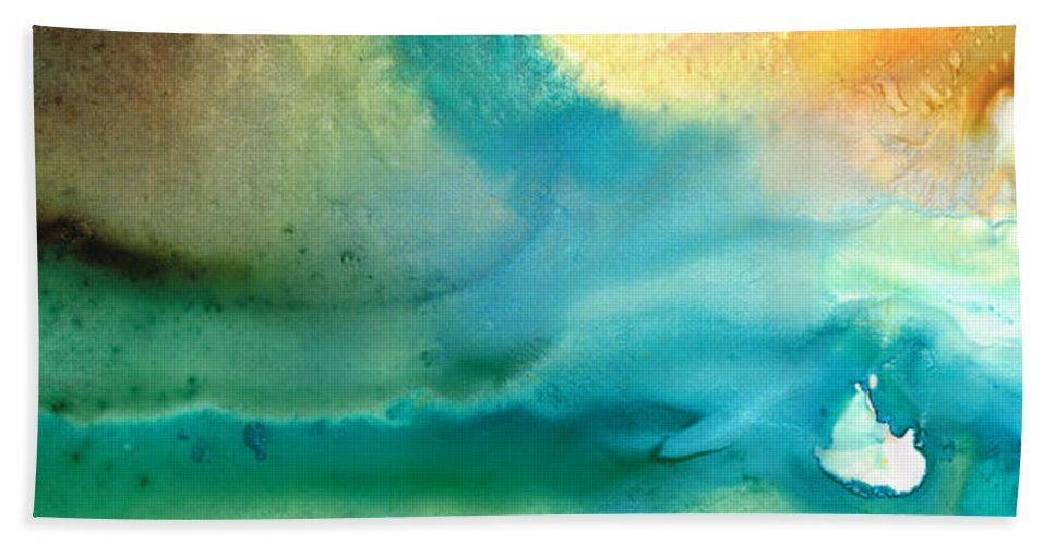 Abstract Art Hand Towel featuring the painting Pathway To Zen by Sharon Cummings